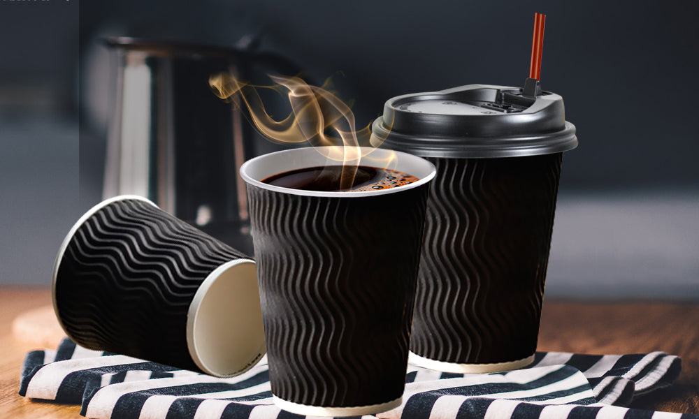 Disposable Coffee Cups Triple Wall 16oz 200pcs Black