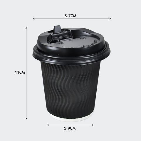 200x Black Disposable Coffee Cups 12oz Multi Sets