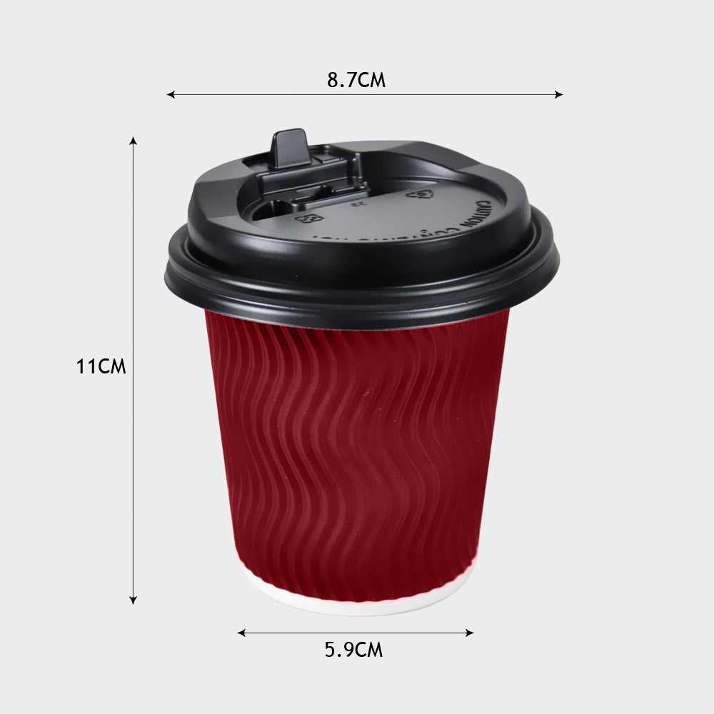 Disposable Coffee Cups Triple Wall 12oz 200pcs Red