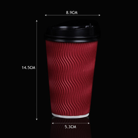 200x Red Disposable Coffee Cups 16oz Multi Sets