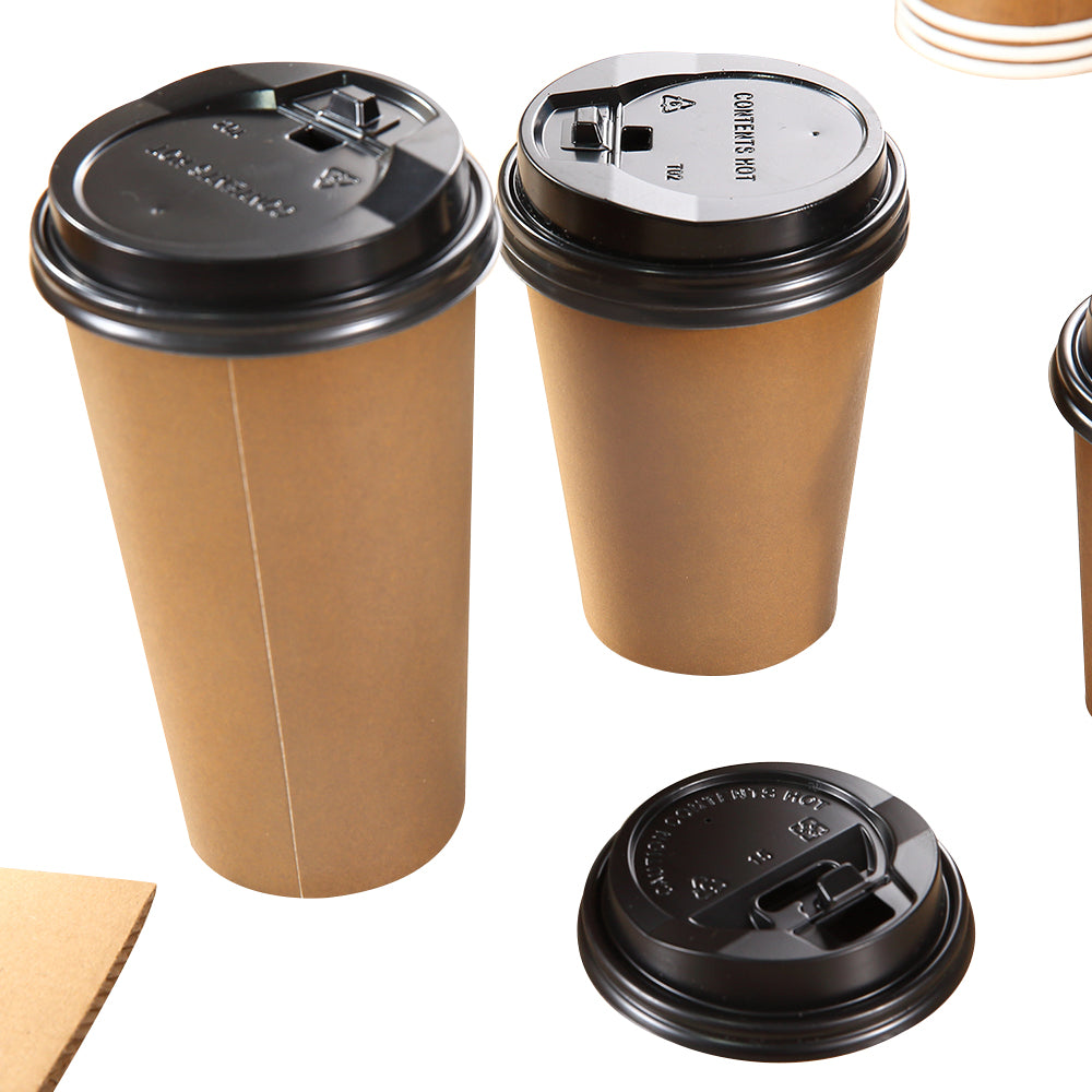 100pcs Double Wall Paper Cups With Lids Stirrers 16oz