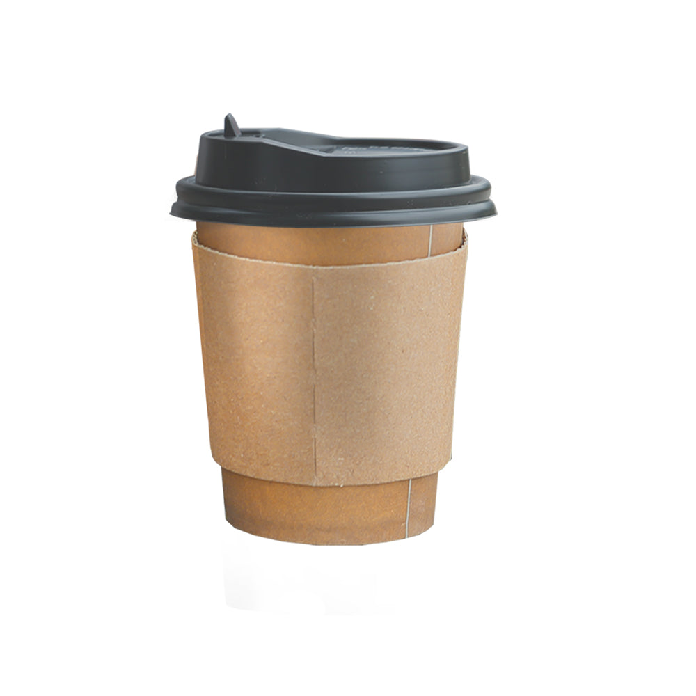 100pcs Double Wall Paper Cups With Lids Stirrers 8oz
