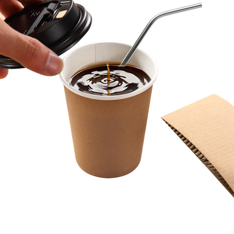 100pcs Double Wall Paper Cups With Lids Stirrers 12oz