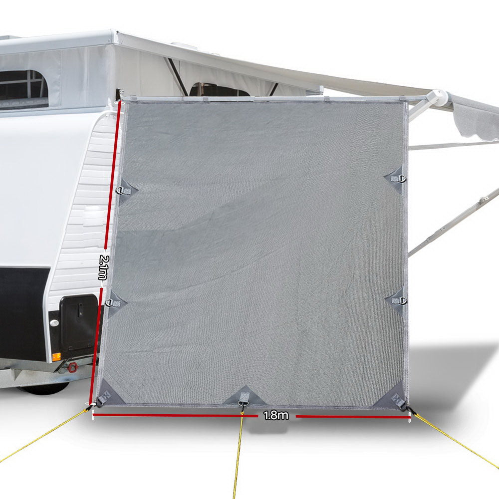 Weisshorn Caravan Roll Out Awning Pop Top End Wall - Grey