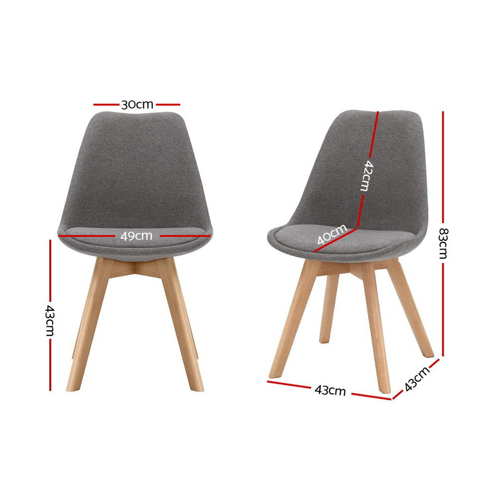 Artiss Set of 2 Retro Beech Fabric Dining Chair - Light Grey