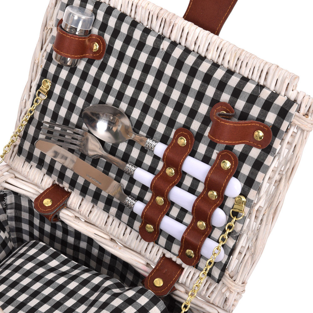 Deluxe 2 Person Picnic Basket Baskets Set Outdoor Blanket Park Trip