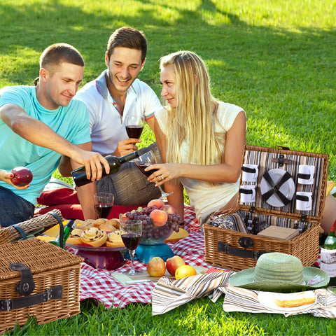 Wicker 4 Person Picnic Basket With Folding Handle Brown