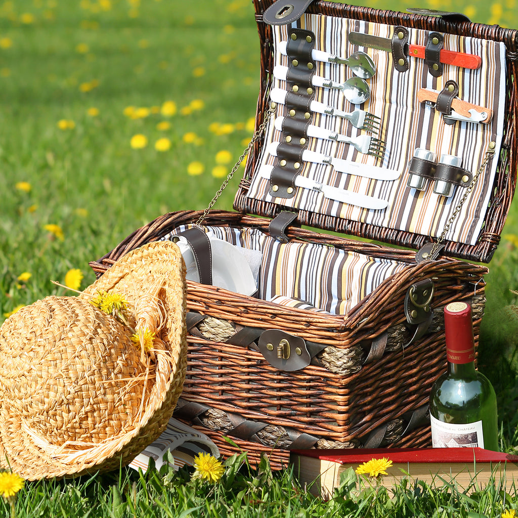 Wicker 2 Person Picnic Basket Camping With Folding Handle