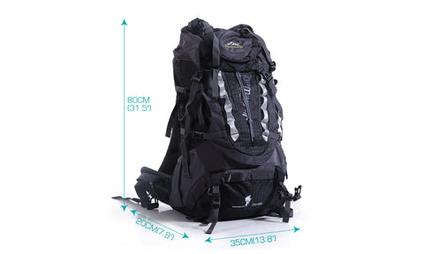70l+10 Camping Hiking Backpack Blue