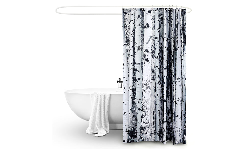 Polyester Waterproof Bathroom Shower Curtain Birch 180x200cm