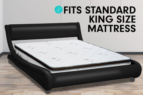 King Size Faux Leather Curved Bed Frame - Black