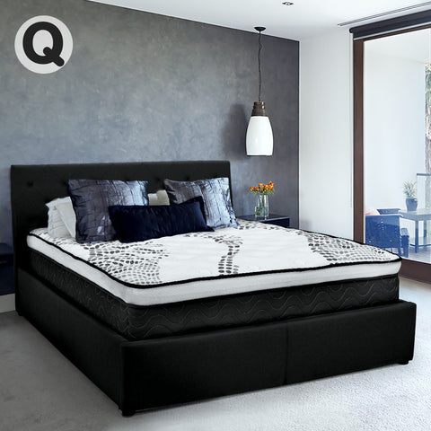 Queen Fabric Gas Lift Bed Frame with Headboard - Black