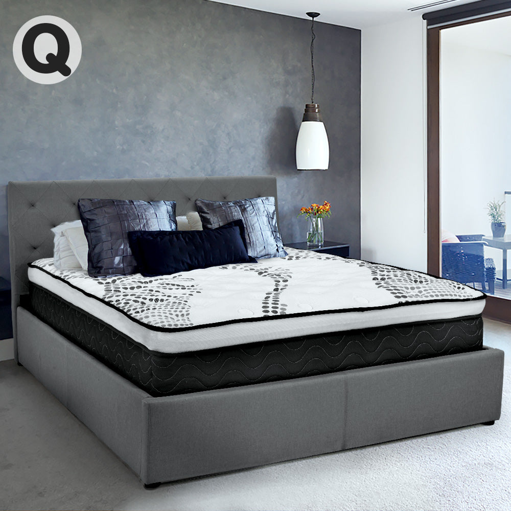 Queen Fabric Gas Lift Bed Frame with Headboard - Dark Grey
