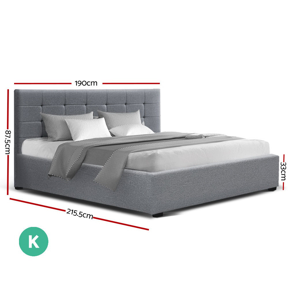 Artiss LISA King Size Gas Lift Bed Frame Base With Storage Mattress Grey Fabric