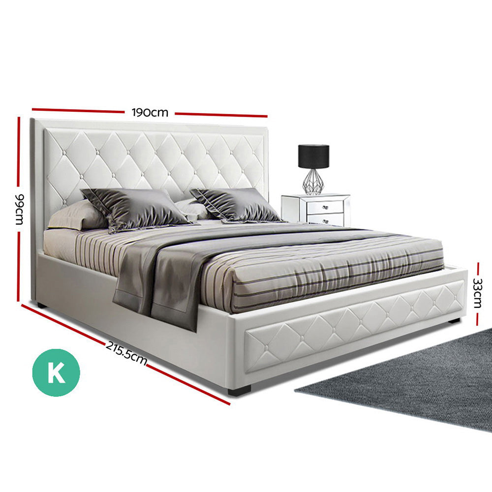 Artiss TIYO King Size Gas Lift Bed Frame Base With Storage Mattress White Leather