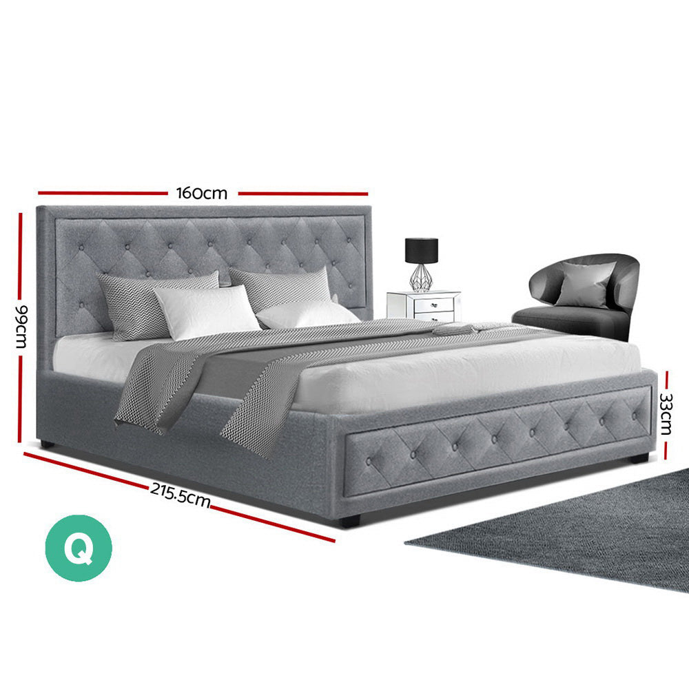 Artiss TIYO Queen Size Gas Lift Bed Frame Base With Storage Mattress Grey Fabric