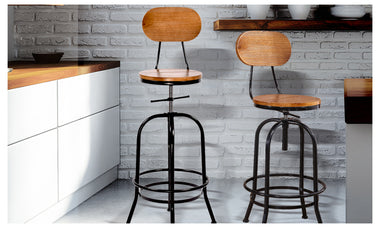 Rustic Industrial Bar Stool Wooden Top