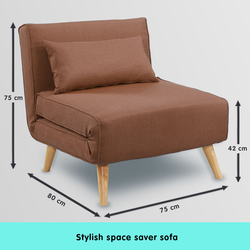 Adjustable Corner Sofa Single Seater Lounge Linen Bed Seat - Brown
