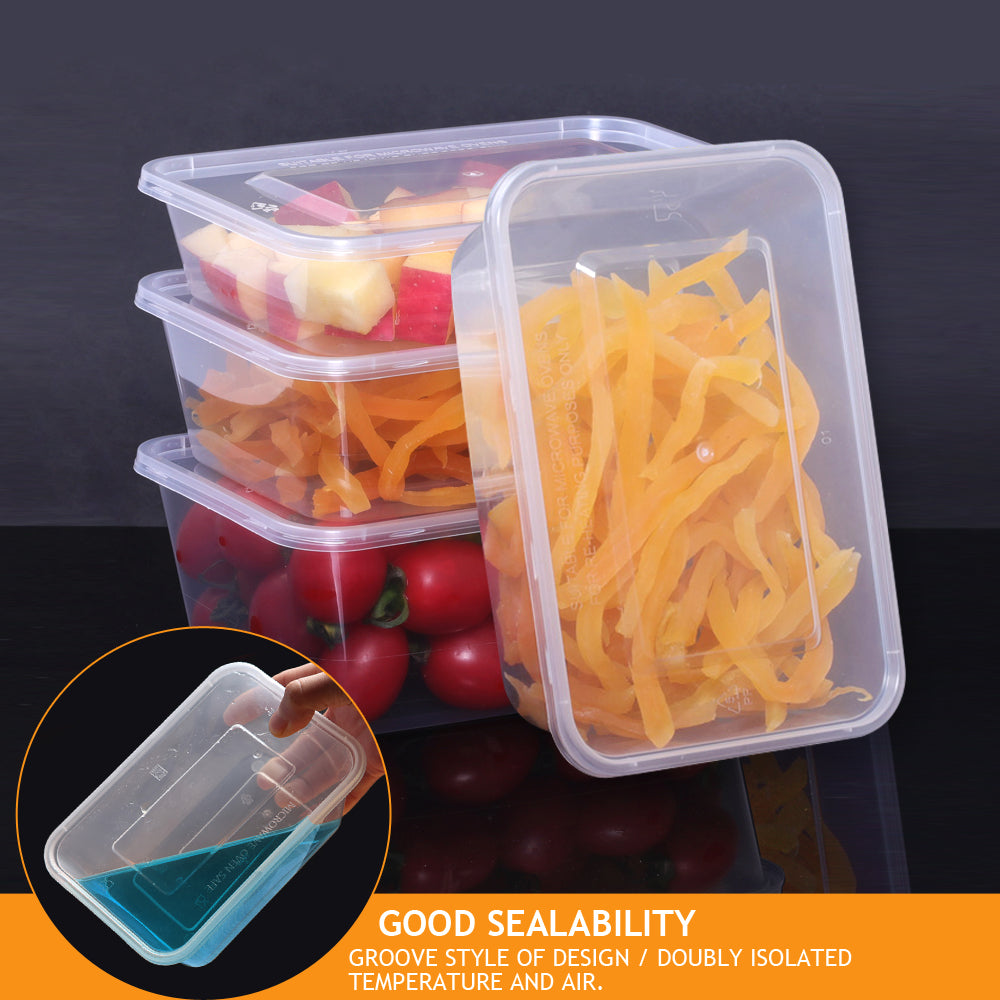 50 Packs Food Containers Plastic Base + Lids Bulk 1000ml