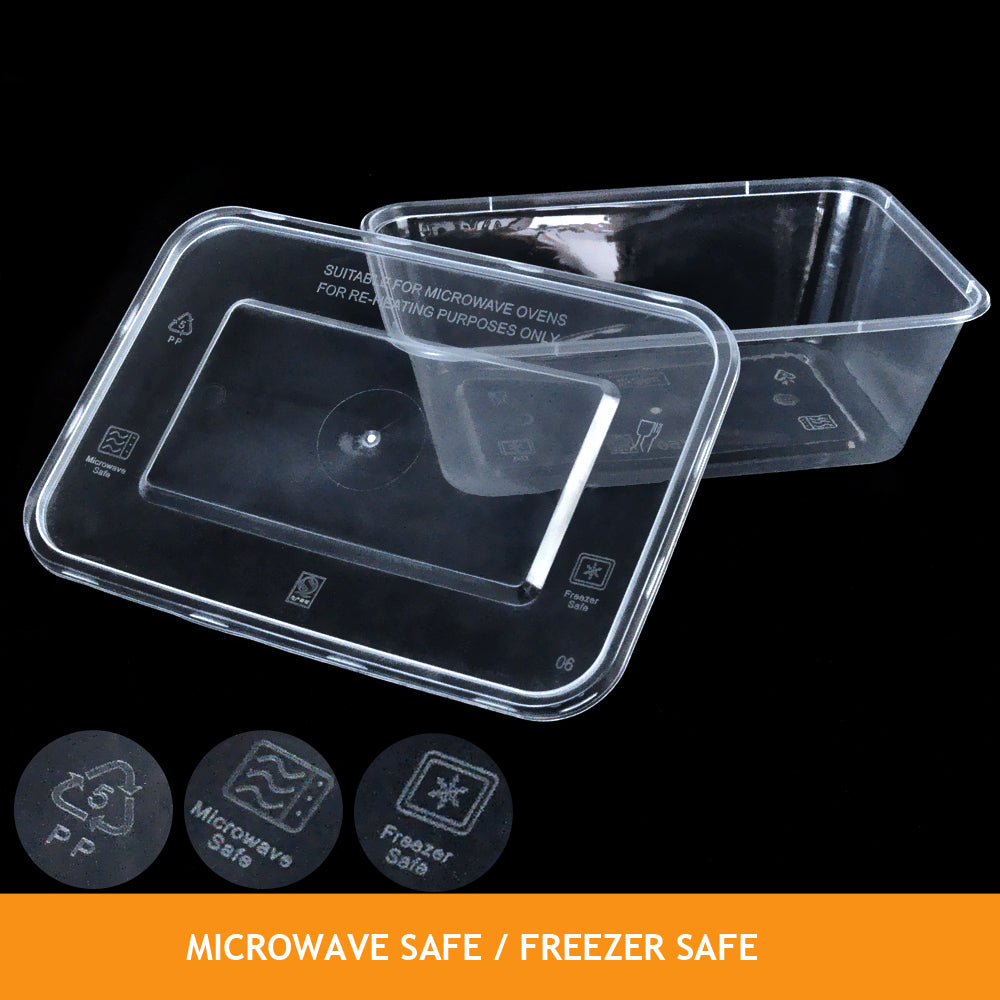 50 Packs Food Containers Plastic Base + Lids Bulk 650ml
