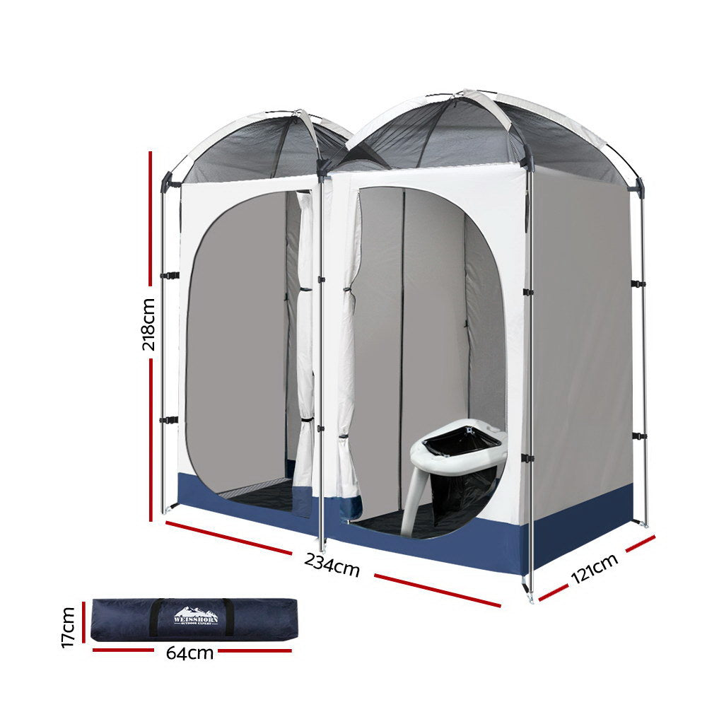 WEISSHORN Double Camping Shower Tent Portable Toilet Outdoor Change Room Ensuite