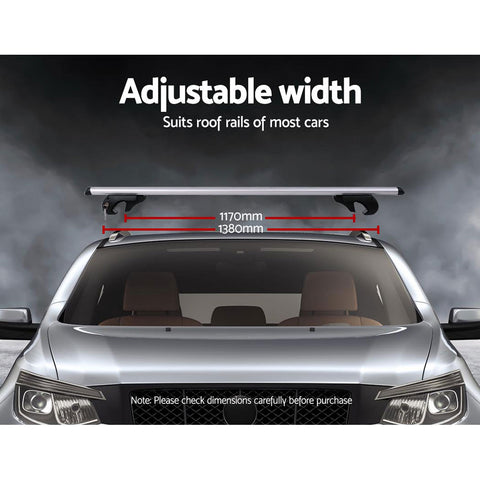 Giantz 1350mm Universal Aluminium Lockable Roof Rack - Silver