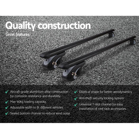Giantz 1350mm Universal Aluminium Lockable Roof Rack - Black