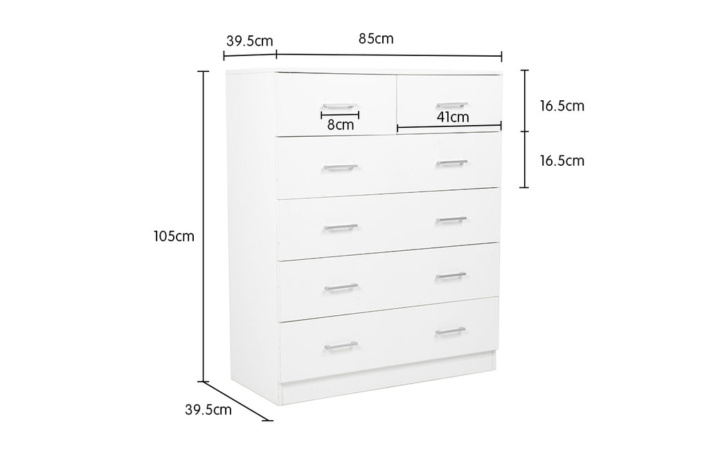 Tallboy Dresser 6 Chest of Drawers Cabinet 85 x 39.5 x 105