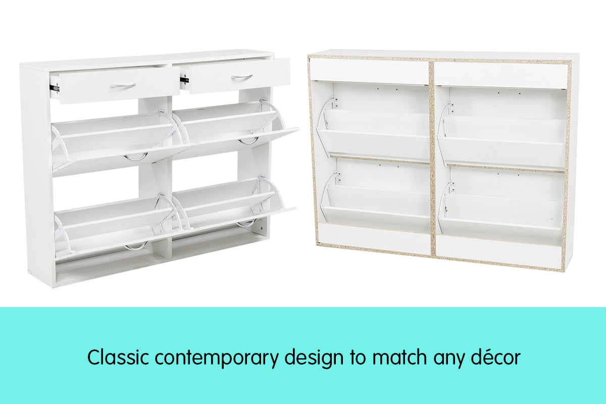 Shoe Cabinet Organizer Storage Rack 1200 x 240 x 920 - White