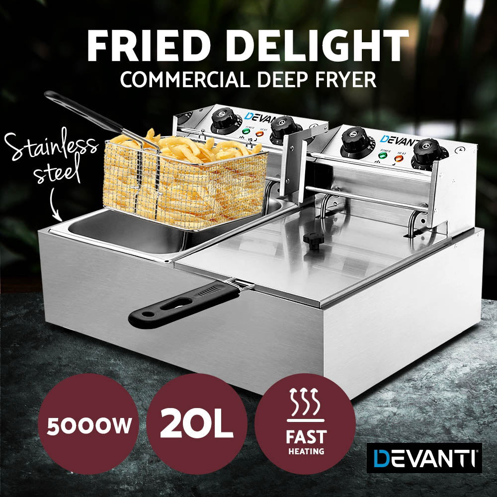 Devanti Commercial Electric Twin Deep Fryer - Silver