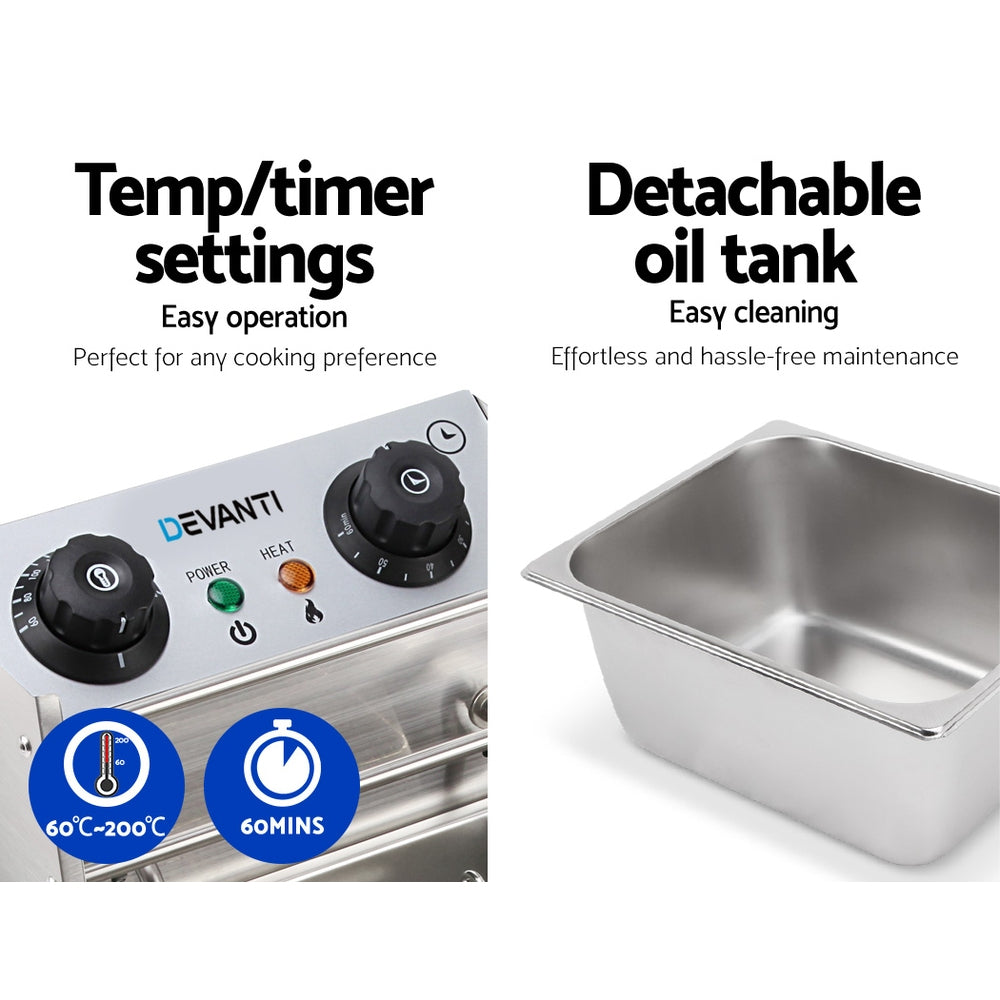 Devanti Commercial Electric Single Deep Fryer - Silver