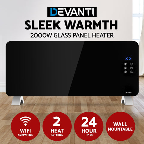Devanti Electric Convection Glass Panel Heater Wall Mount Portable Heat WiFi Control 2000W Black