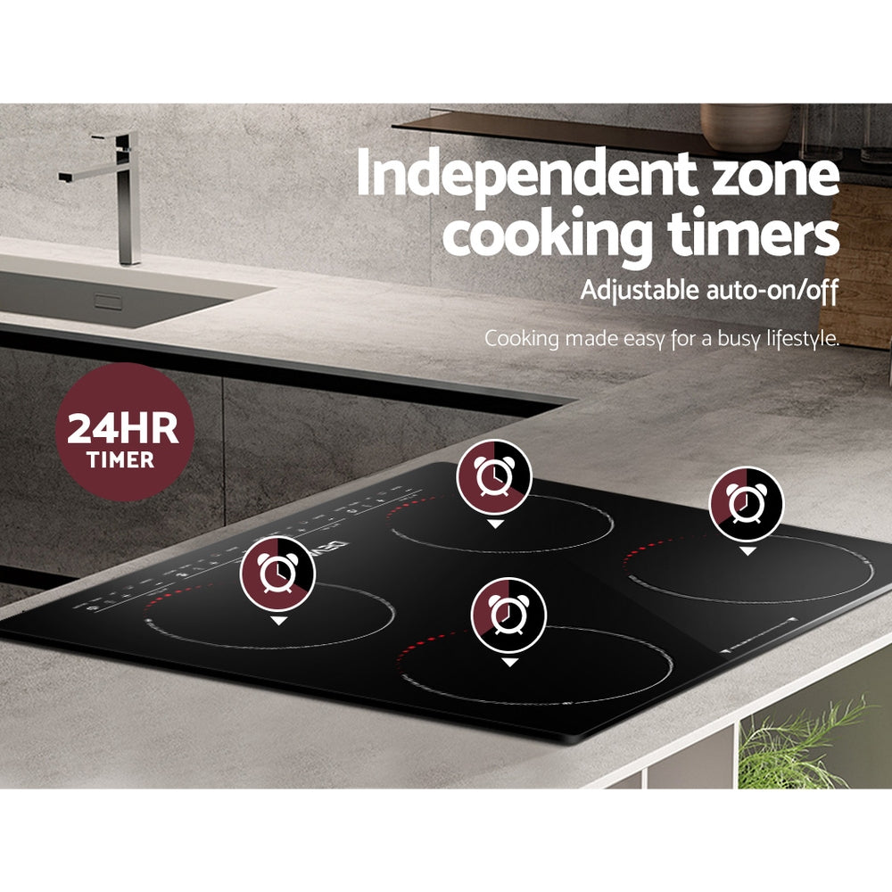 Devanti Induction Cooktop 60cm Portable Electric Ceramic Cooker 4 Burner Stove