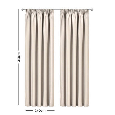 Artqueen 2X Pinch Pleat Pleated Blockout Curtains Sand 240cmx213cm