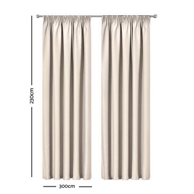 Artqueen 2X Pinch Pleat Pleated Blockout Curtains Sand 300cmx230cm