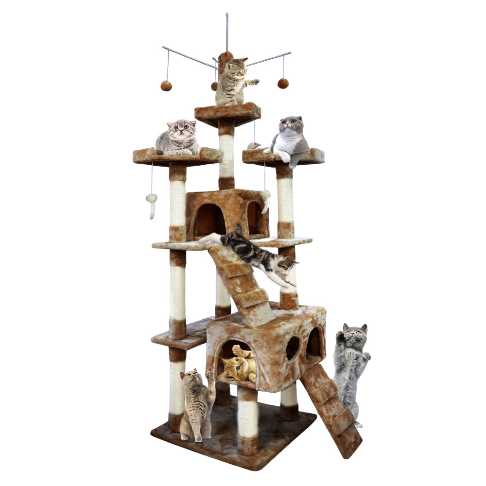[Brown]PawZ 2.1M Cat Scratching Tree Gym House - Store Zone-Online Shopping Store Melbourne Australia