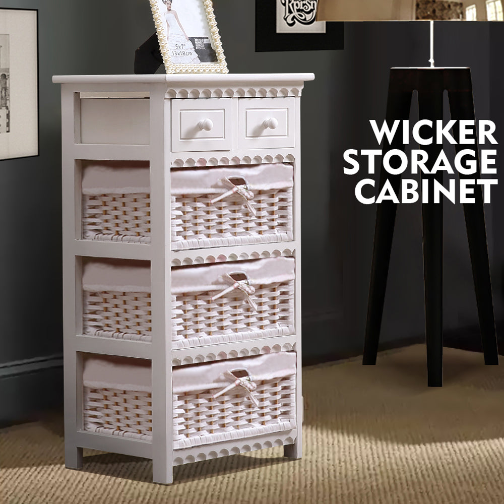 Bedroom Storage Dresser Chest 5 Drawers 3 Wicker Basket Cabinet