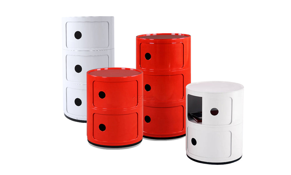 Round Cabinet Side Table Storage Shelf Organizer Red 3d