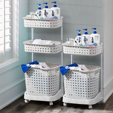 Bathroom Laundry Clothes Baskets Bin Removable Shelf White