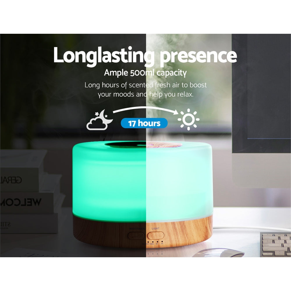 DEVANTI Aroma Diffuser Aromatherapy LED Night Light Air Humidifier Purifier Round Light Wood Grain 500ml Remote Control