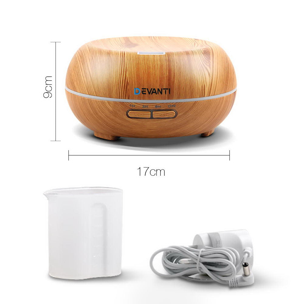 Devanti 200ml 4 in 1 Aroma Diffuser - Light Wood