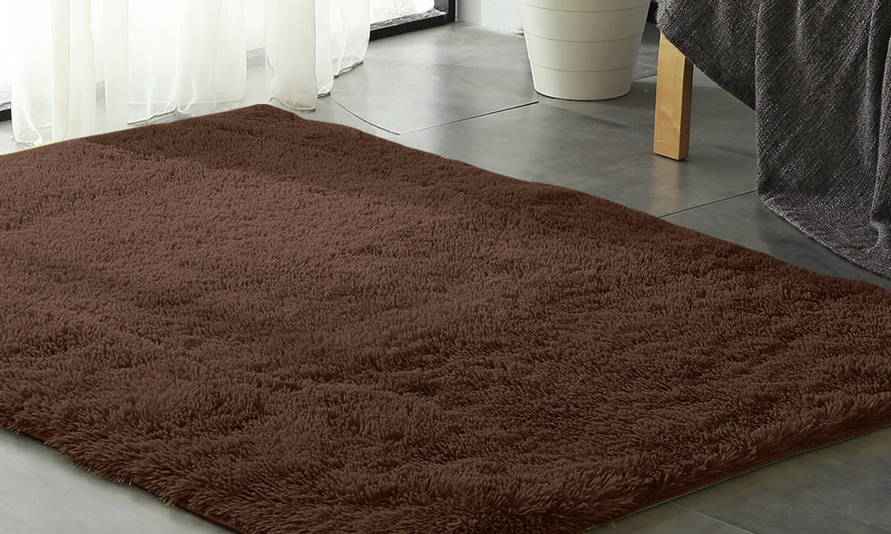 New Designer Shaggy Floor Confetti Rug Coffee 80x120cm