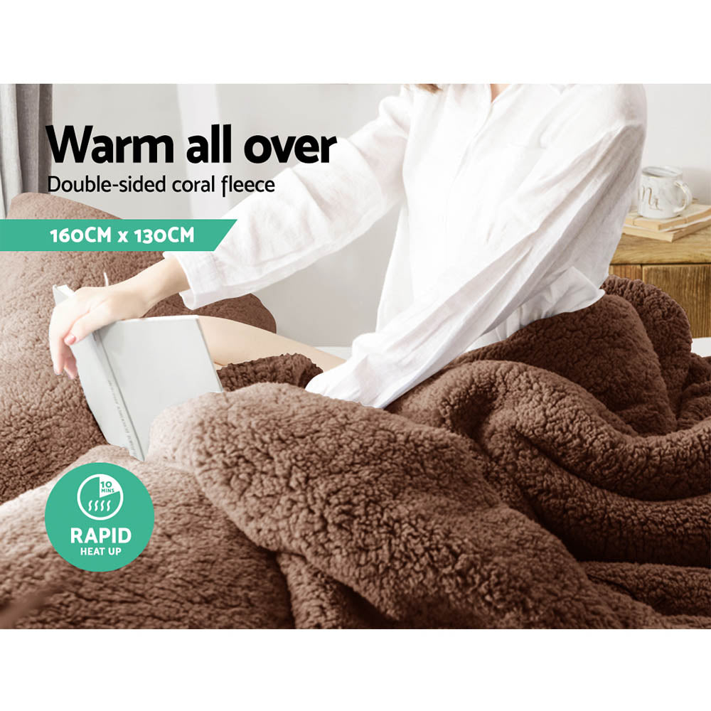 Giselle Bedding Electric Heated Throw Rug Washable Fleece Snuggle Blanket Brown
