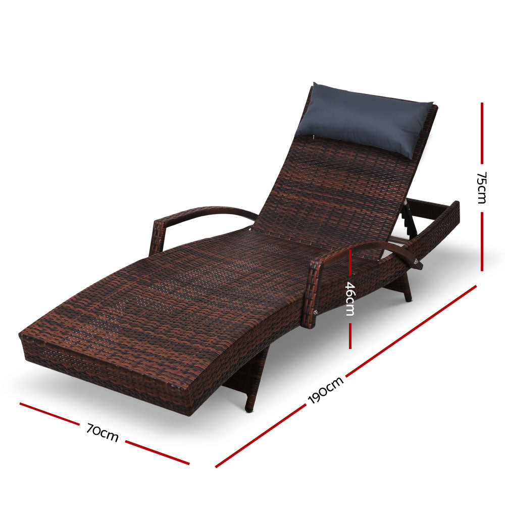 Gardeon Sun Lounge Setting Brown Wicker Day Bed Outdoor Furniture Garden Patio