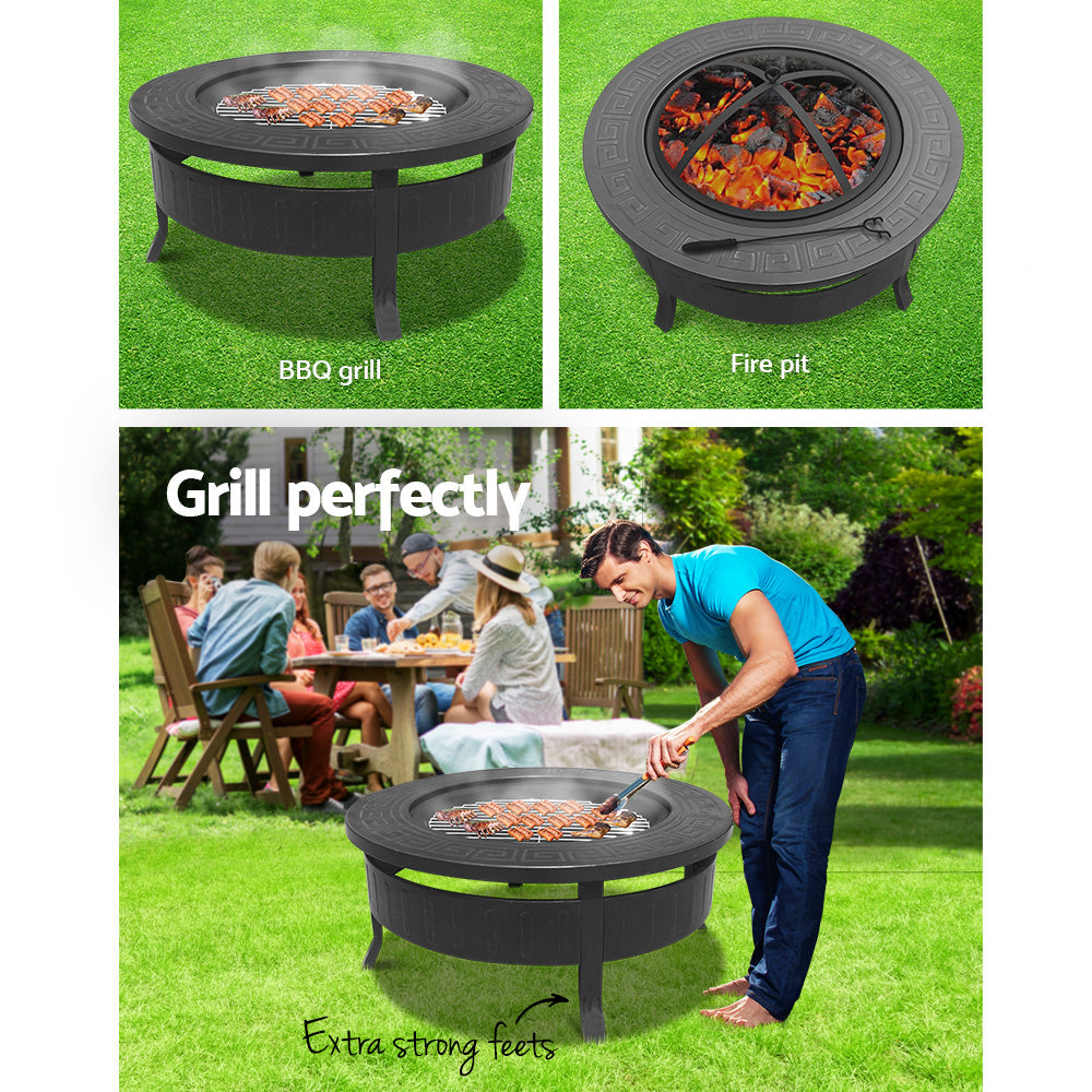 Grillz Round Outdoor Fire Pit BBQ Table Grill Fireplace