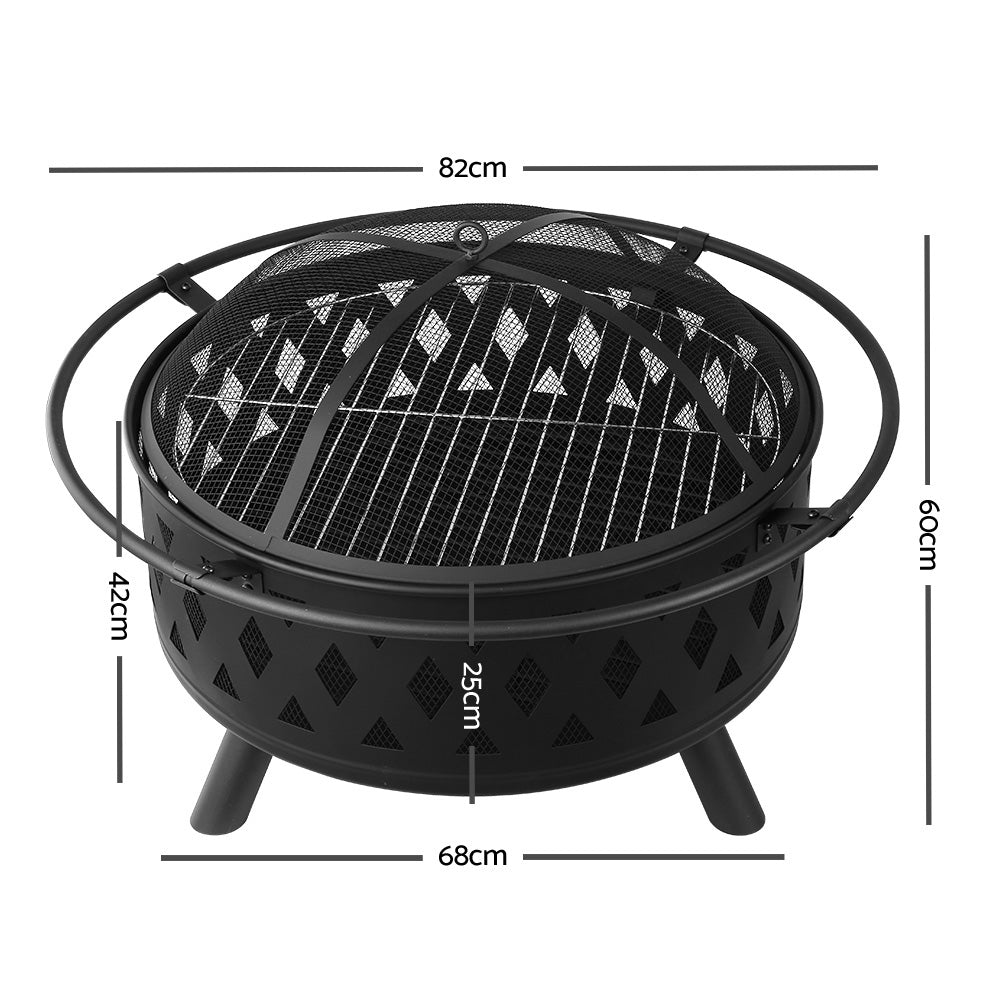 Grillz 32 Inch Portable Outdoor Fire Pit and BBQ - Black