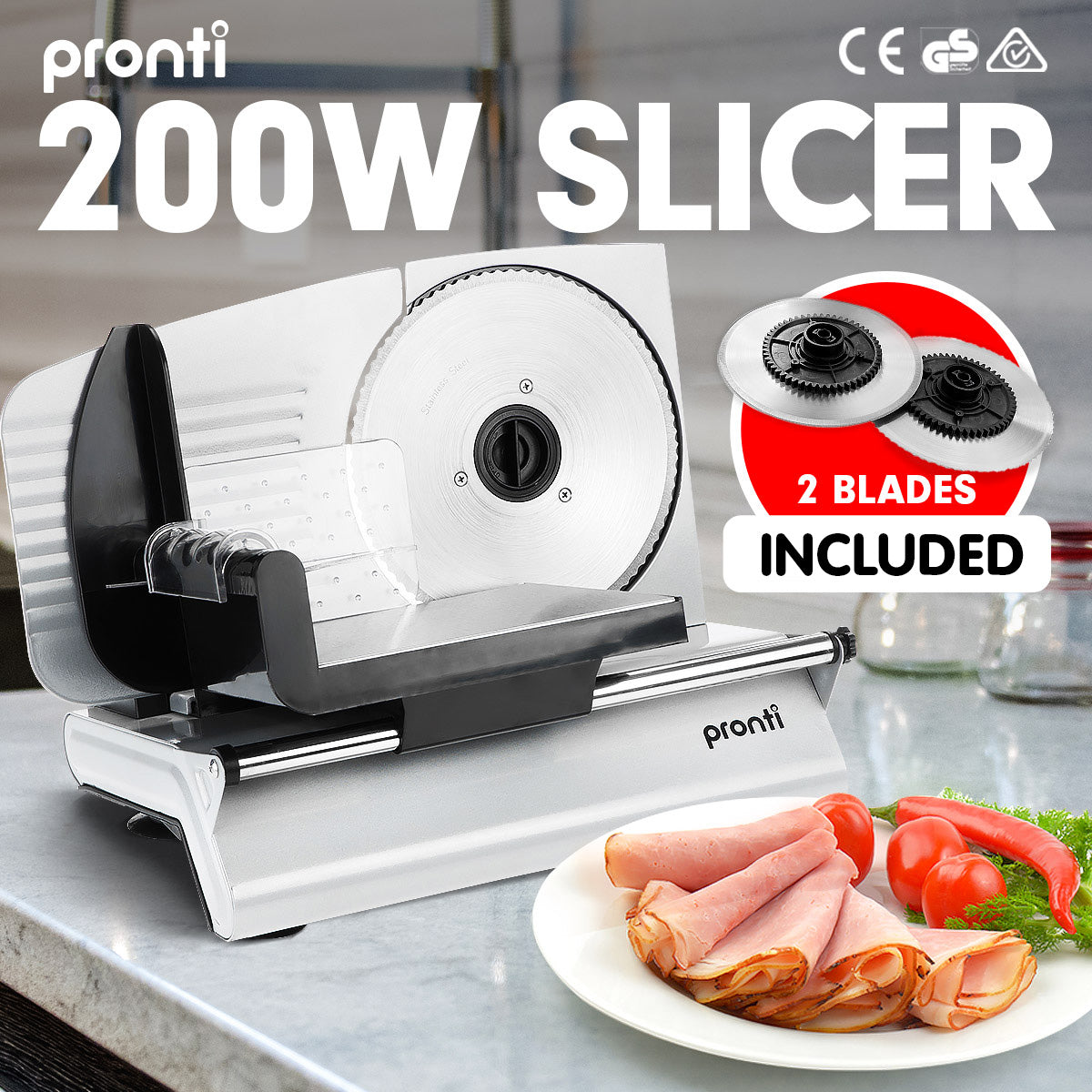 Pronti Deli and Food Electric Meat Slicer 200W Blades Processor