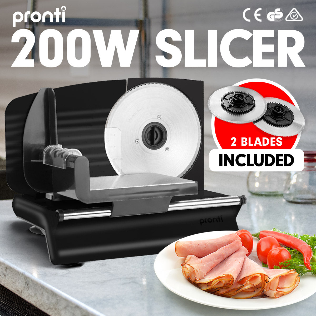 200W  Pronti Deli and Food Electric Meat Slicer Blades Processor Black