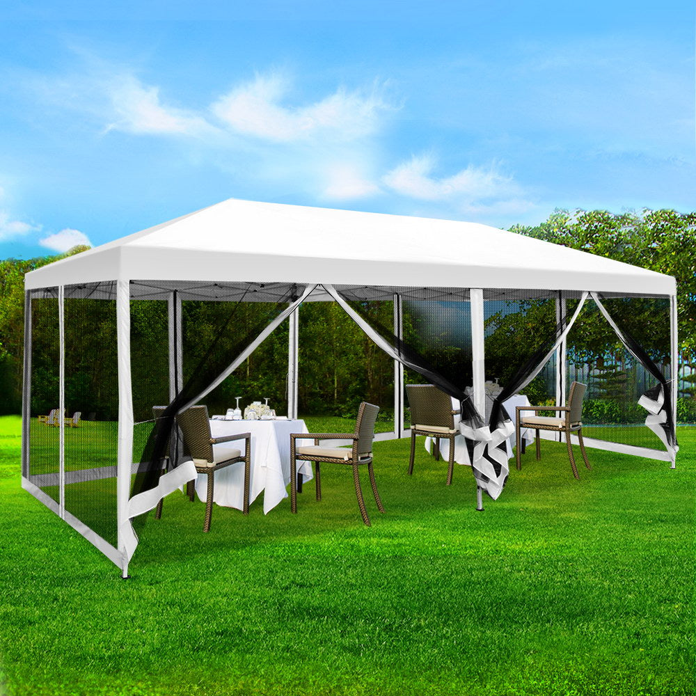 Instahut 3x6m Pop Up Gazebo Wedding Marquee Mesh Side Walls Canopy Outdoor Tent White