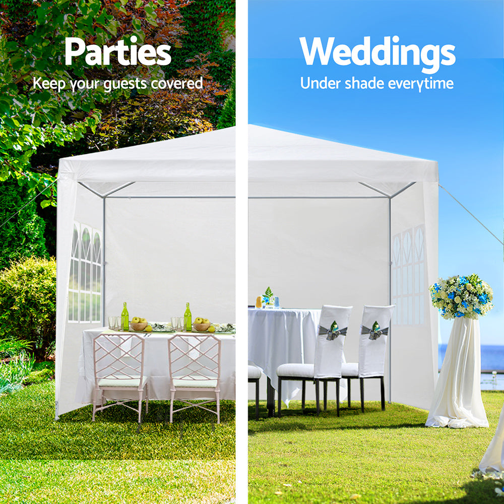 Instahut 3x3m Wedding Gazebo Outdoor Camping 4 Panels White